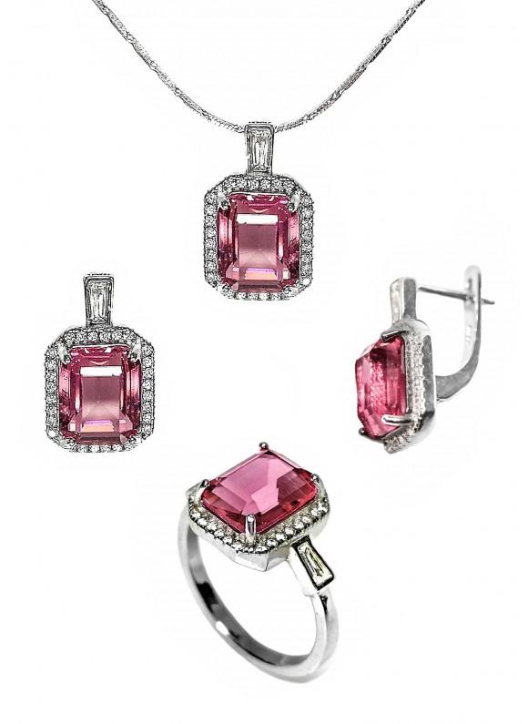 Сребърен комплект - Розов кристал ERN013