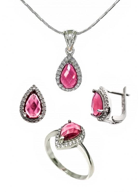 Сребърен комплект - Розов кристал ERN014