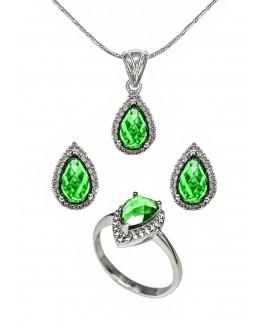 Сребърен комплект - Зелен кристал ERN015