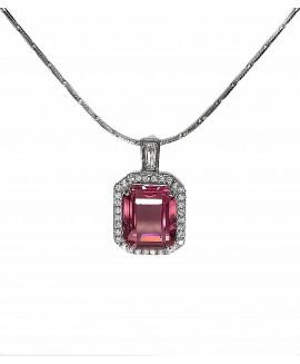 Сребърна висулка - Розов кристал SP013