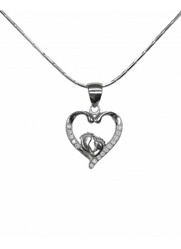 Сребърна висулка - Сърце с бебешка стъпка