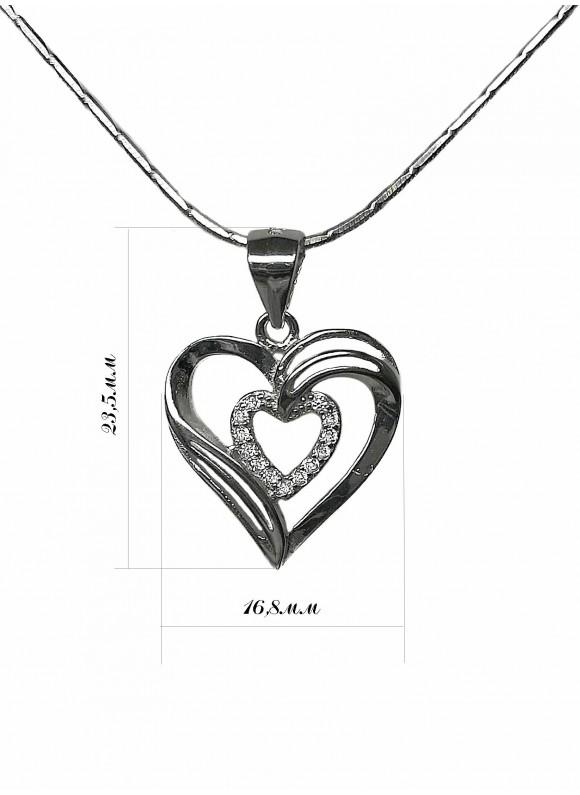 Сребърна висулка - Сърце в сърце SP027