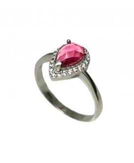 Сребърен пръстен - Розов кристал SR014