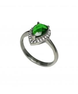 Сребърен пръстен - Зелен кристал SR015